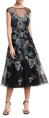 Teri Jon By Rickie Freeman Embroidered Tulle Cocktail Dress