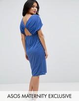 Asos Midi Dress With Drape Open Back
