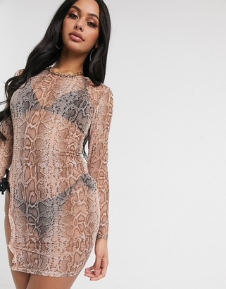 South Beach Thigh Detail Sheer Mini Dress
