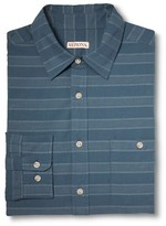 Merona Men's Button Down Shirt Blue Stripe Dobby