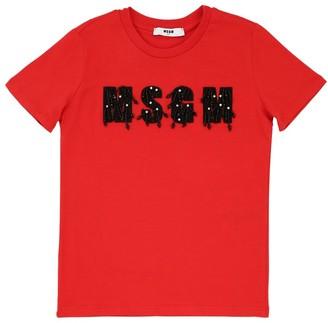 MSGM Logo Embellished Cotton Jersey T-shirt