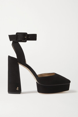 Jimmy Choo Jinn 125 Suede Platform Pumps - Black