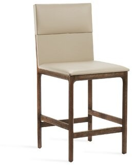 """Interlude Tilly 25"""" Counter Stool Color: Autumn Brown, Upholstery: Cream Latte"""