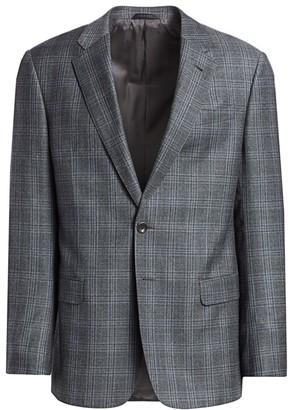 Giorgio Armani Plaid Single-Breasted Wool Blazer