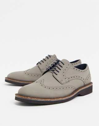 Silver Street suede brogue lace up in gray