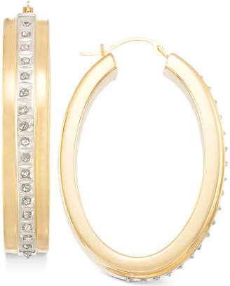 Signature Diamonds Hoop Earrings in 14k Gold over Resin Core Diamond and Crystallized Diamond Dust