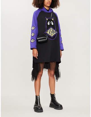 Mini Cream Graphic-embellished cotton-blend mini hoody dress