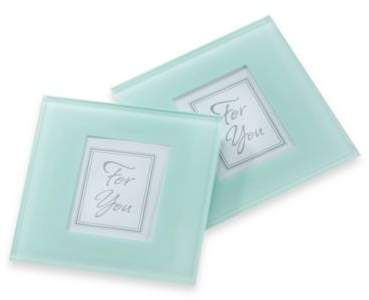 Kate Aspen Forever Photo Frosted Glass Coaster (Set of 2)