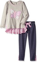 Nannette Little Girls' 2 Piece Butterfly Jegging Set with Lace Trim