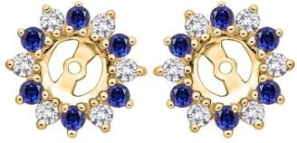 Shah Diamonds 14k Yellow Gold 2ct TDW Diamond and Blue Sapphire Starburst Earring Jackets