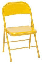 Metal Folding Chair Novogratz Color: Orange