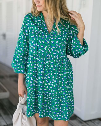 The Drop Women's Loose-Fit Emerald Animal Print Mini Dress by @graceatwood XS