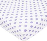 T.L.Care TL Care® Cotton Percale Polka Dot Fitted Crib Sheet in Lavender
