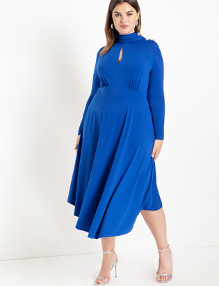 ELOQUII Keyhole Mock Neck Dress with Button Detail