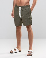 Asos Swim Shorts With Cargo Pocket And Drawcord Detail In Khaki Mid Length