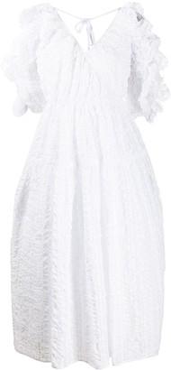 Cecilie Bahnsen Ruffle Sleeve Midi Dress