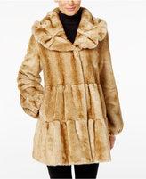 Karl Lagerfeld Faux Fur Tiered Long Coat in Black - Lyst