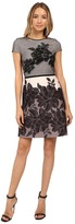 Christin Michaels Zahra Mesh Overlay Fit and Flare Dress