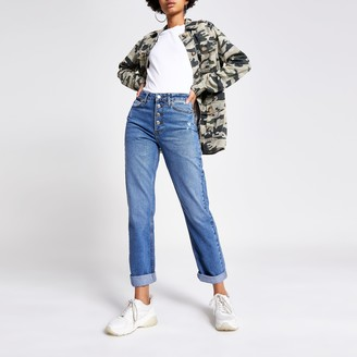 River Island Womens Mid Blue high rise mom jeans