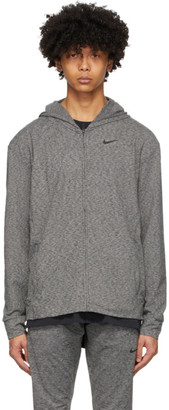 Nike Grey and Black Dri-FIT Yoga Hoodie