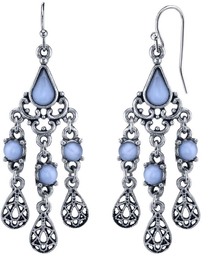 a4ebfb1367f04 2028 Pewter Tone Lt. Blue Moonstone Filigree Teardrop Chandelier Earrings