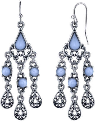 2028 Pewter Tone Lt. Blue Moonstone Filigree Teardrop Chandelier Earrings