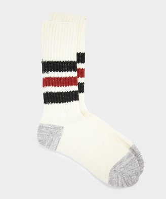 RoToTo Coarse Ribbed Old School Sock in Black/Red