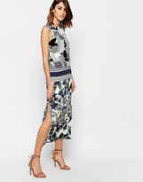 Warehouse Abstract Palm Print Midi Dress