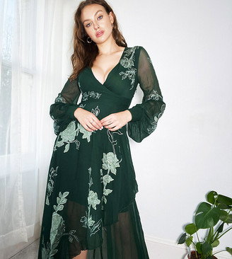 Asos Tall ASOS DESIGN Tall wrap maxi dress with satin applique floral in forest green