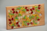 MadeHeart | Buy handmade goods Handmade Decorative Wooden Cutting Board With Petrikivka Painting In Ethnic Style