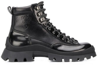 DSQUARED2 Logo-Debossed Lace Up Hiking Boots