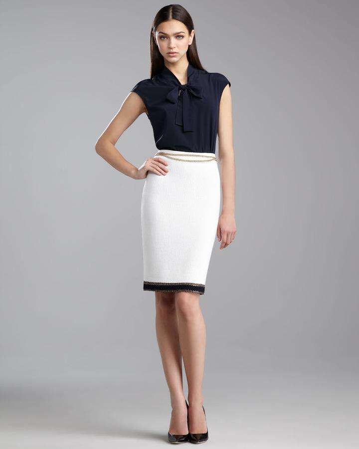 St. John Grasse Tweed Pencil Skirt