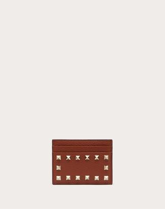 Valentino Rockstud Grainy Calfskin Cardholder Women Brown Calfskin 100% OneSize