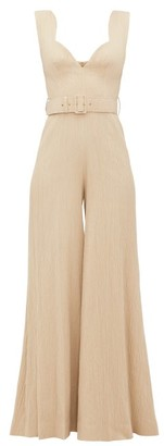 Emilia Wickstead Rosabel Sweetheart-neckline Cloque Jumpsuit - Beige