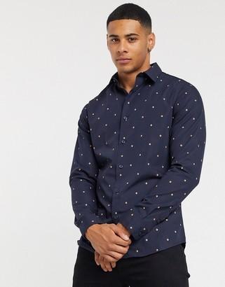 New Look poplin shirt in navy polka dot