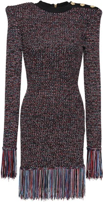 Balmain Button-embellished Fringe-trimmed Knitted Mini Dress