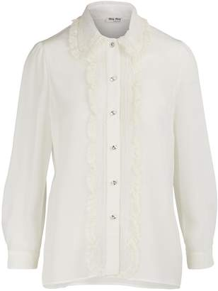 Miu Miu Silk shirt with lace detail