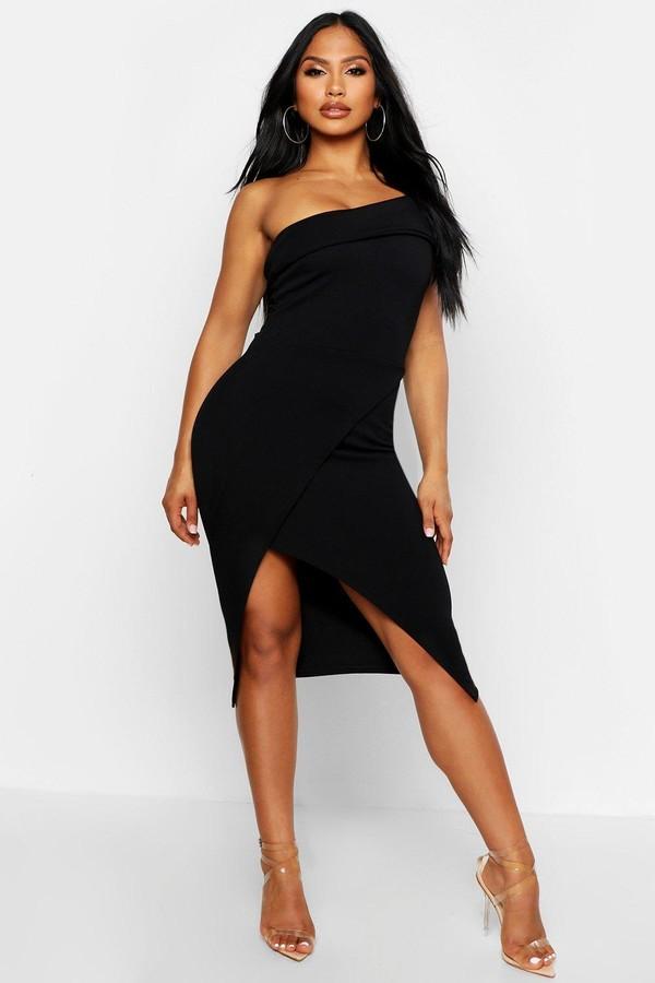 boohoo One Shoulder Wrap Skirt Midi Dress