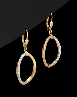 Italian Gold 14K Two-Tone Polished & Diamond Cut Oval Drop Earrings