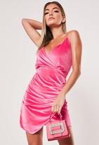 Missguided Neon Pink Velvet Strappy Wrap Mini Dress
