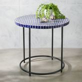 west elm Mosaic Tiled Side Table - Blue Penny Top + Metal Base
