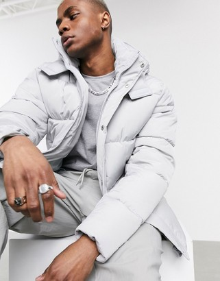 ASOS DESIGN sustainable puffer jacket with hood in gray