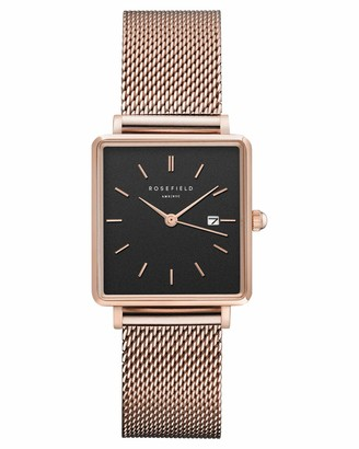 ROSEFIELD Women's Watch The Boxy Black Dial Mesh Rose Gold Strap Rose Gold Square Case QBMR-Q05