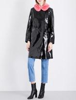 Shrimps Hokus faux-fur collar PVC coat