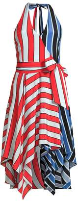 Alice + Olivia Canton Striped Colorblock Wrap Dress