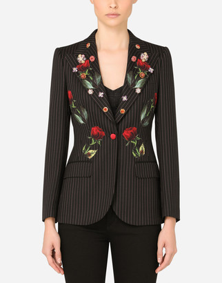 Dolce & Gabbana Pinstripe Blazer With Rose Appliques
