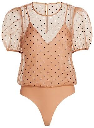 CAMI NYC Bethany Polka Dot Puff-Sleeve Bodysuit