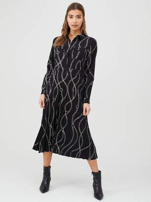 Warehouse Chain Print Pleated Midi Shirt Dress - Black