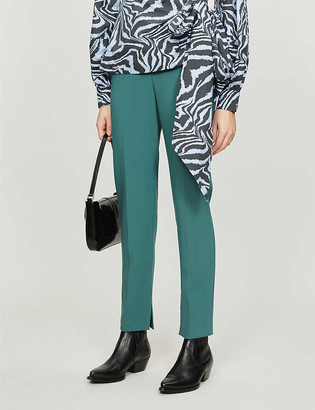 Topshop Cropped slim-fit high-rise stretch-twill trousers