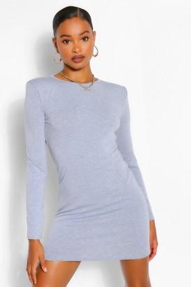 boohoo Padded Shoulder Long Sleeve T-Shirt Dress